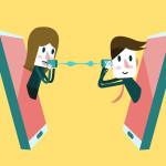 Man and woman talking on a mobile phone. flat design element. vector illustration