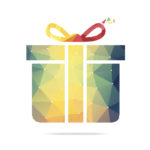 Gift box polygonal geometric figure.
